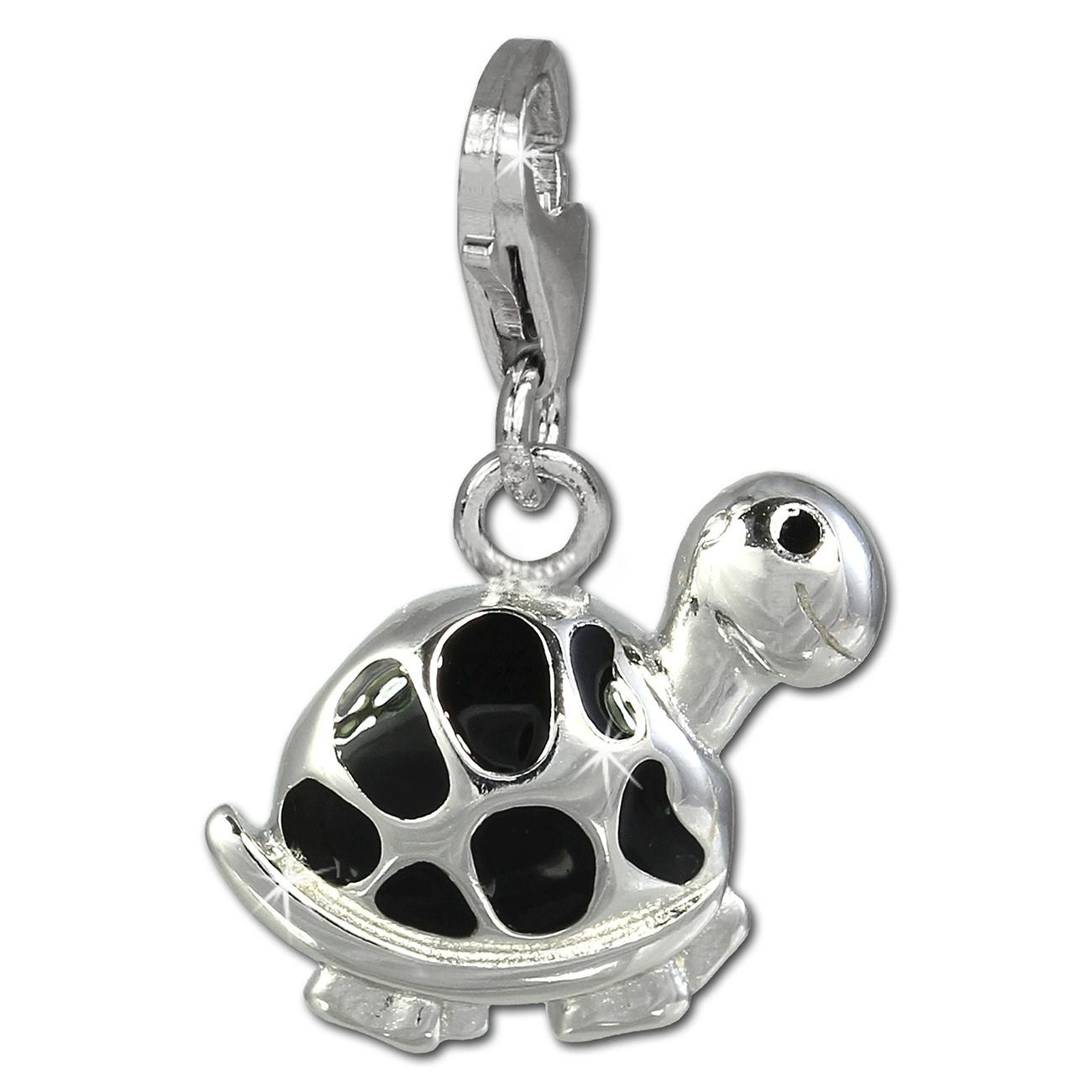 Charm Schildkröte schwarz in 925 Sterling Silber Charms Anhänger für Armbänder Silber Dream Charms FC818S
