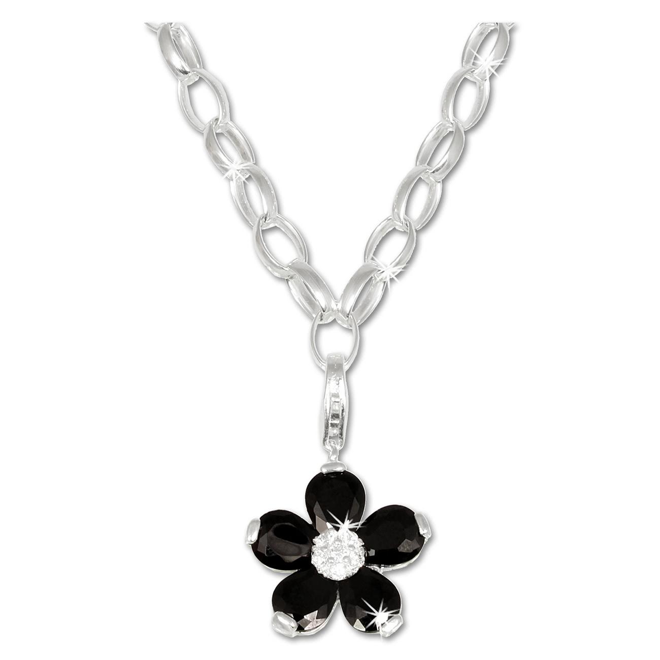 Halsketten Set Blume in 925 Sterling Silber Halskette + Charms Anhänger Silber Dream Charms FCA304