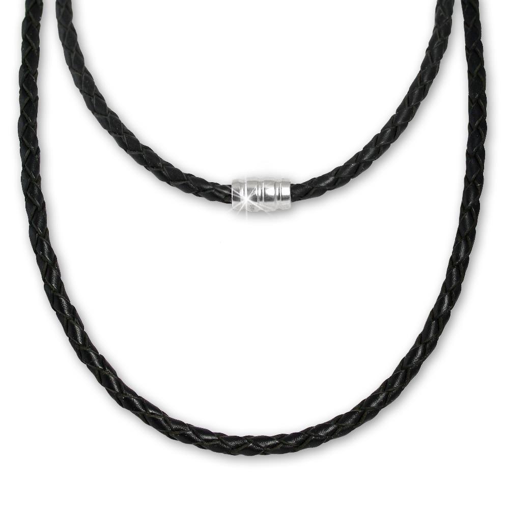 f15599b73c945a Leder Halskette geflochten 45cm schwarz mit in 925 Sterling Silber  Verschluss - Silber Dream Charms - LS0408