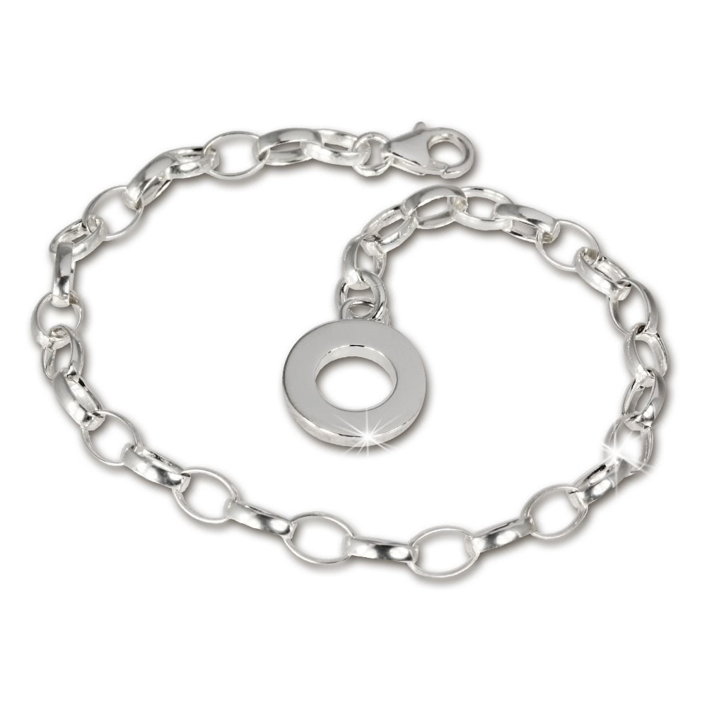 SilberDream Armband mit Plakette 925 Silber Charm Bettelarmband 18cm FC0701
