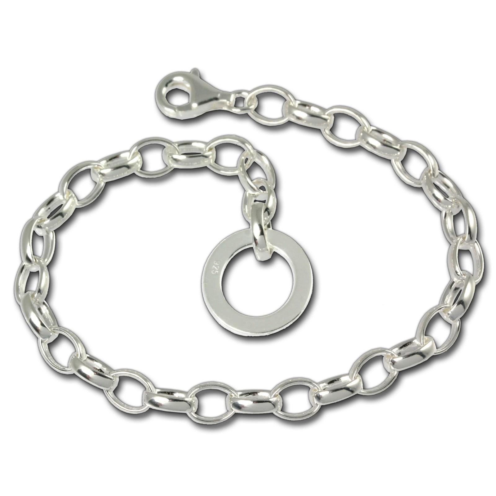 SilberDream Armband mit Plakette 925 Silber Charm Bettelarmband 19cm FC0702