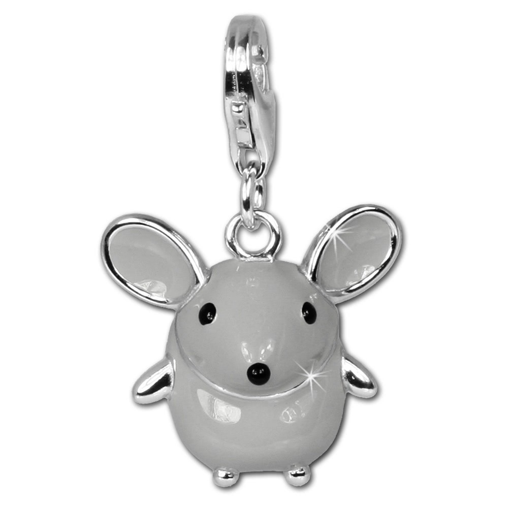 SilberDream 925 Silber Charm Maus Emaille Armband Anhänger FC612
