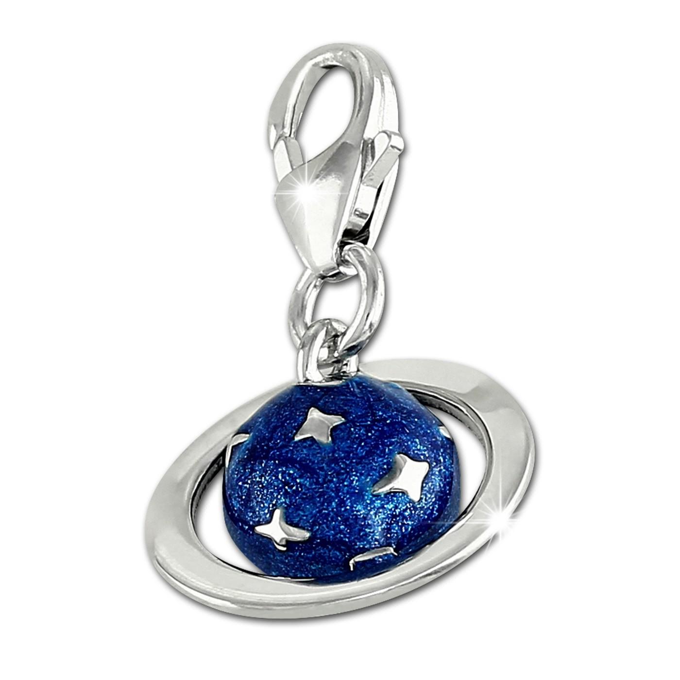 SilberDream Charm Saturn Planet blau 925er Silber Armband Anhänger FC902B