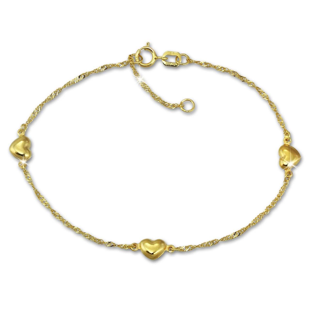 GoldDream Armband Singapur Herz diamantiert 333 Gold 19cm 8 Karat GDA0309Y