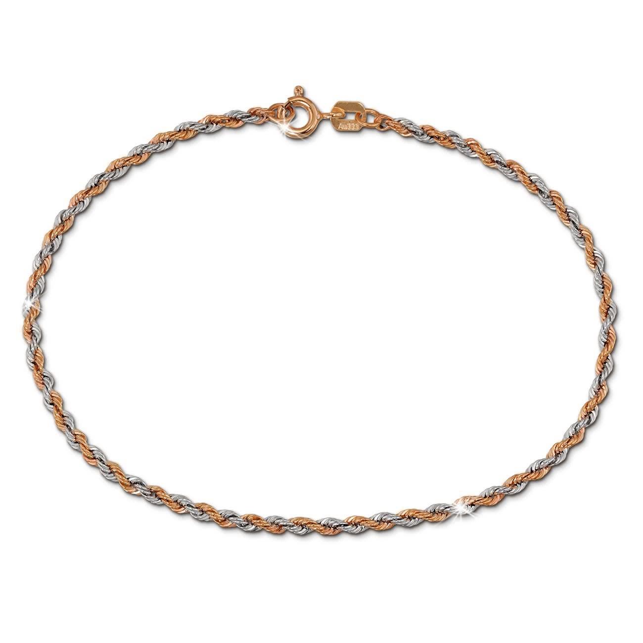SilberDream Armband Zopf bicolor Rose Gold 19cm 8 Karat GDA0529E