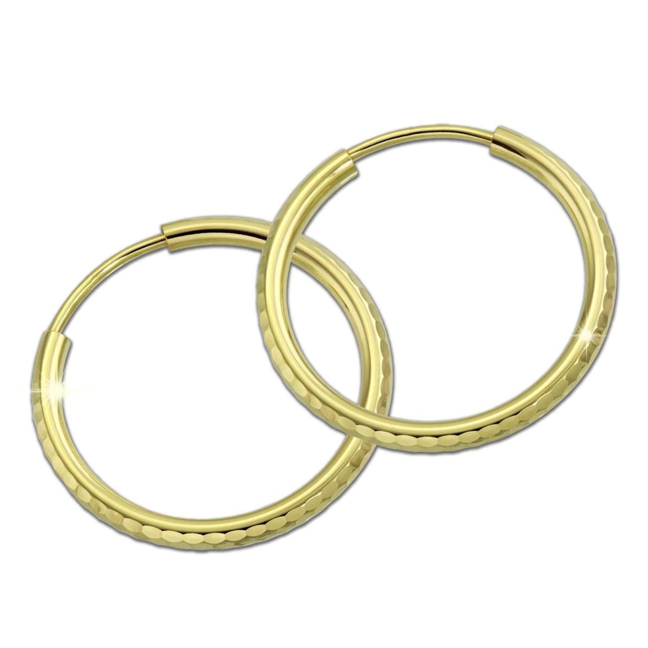 GoldDream Goldcreole Schliff 30mm Ohrring 333 Gelbgold Echtschmuck GDO0043Y