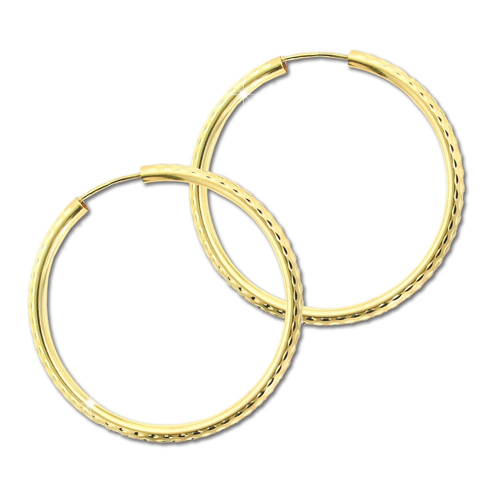 GoldDream Damen Creolen Ohrring 40mm Gelbgold 8 Karat GDOB00440Y