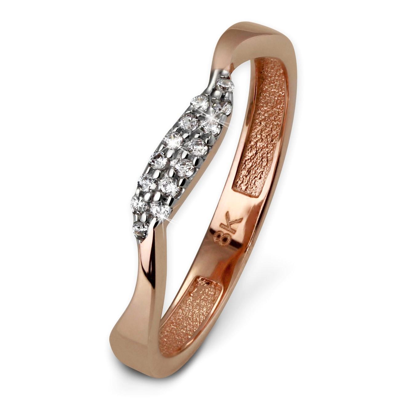 GoldDream Gold Ring Welle Zirkonia weiß Gr.60 333er Rosegold GDR501E60
