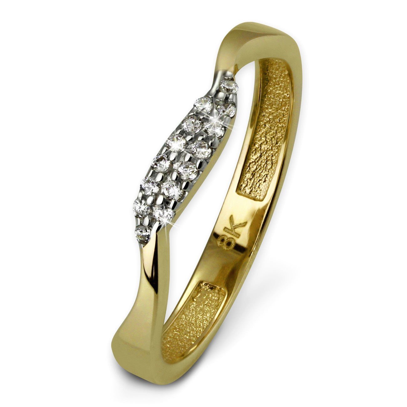 GoldDream Gold Ring Welle Zirkonia weiß Gr.60 333er Gelbgold GDR501Y60