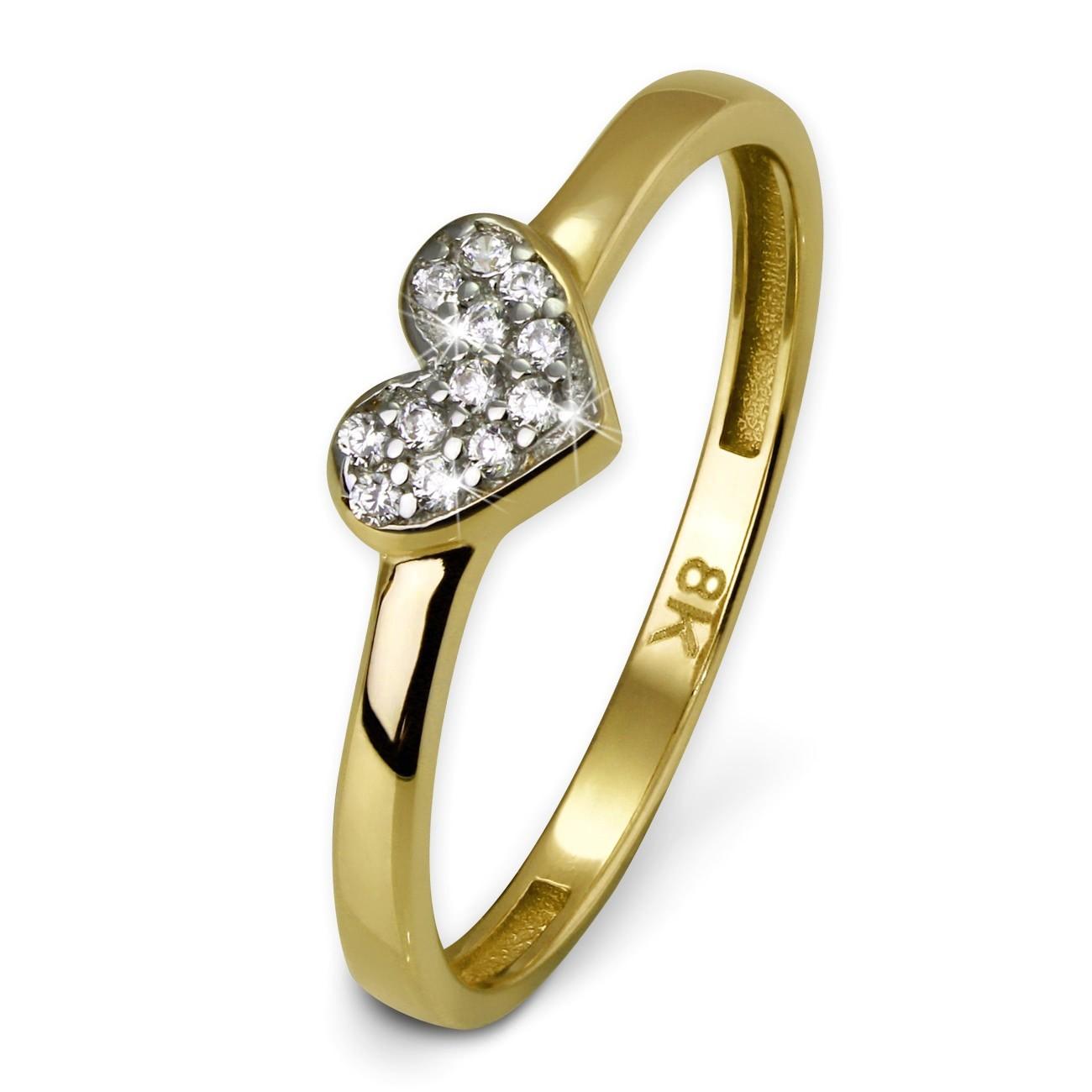 GoldDream Gold Ring Herz Zirkonia weiß Gr.56 333er Gelbgold GDR503Y56