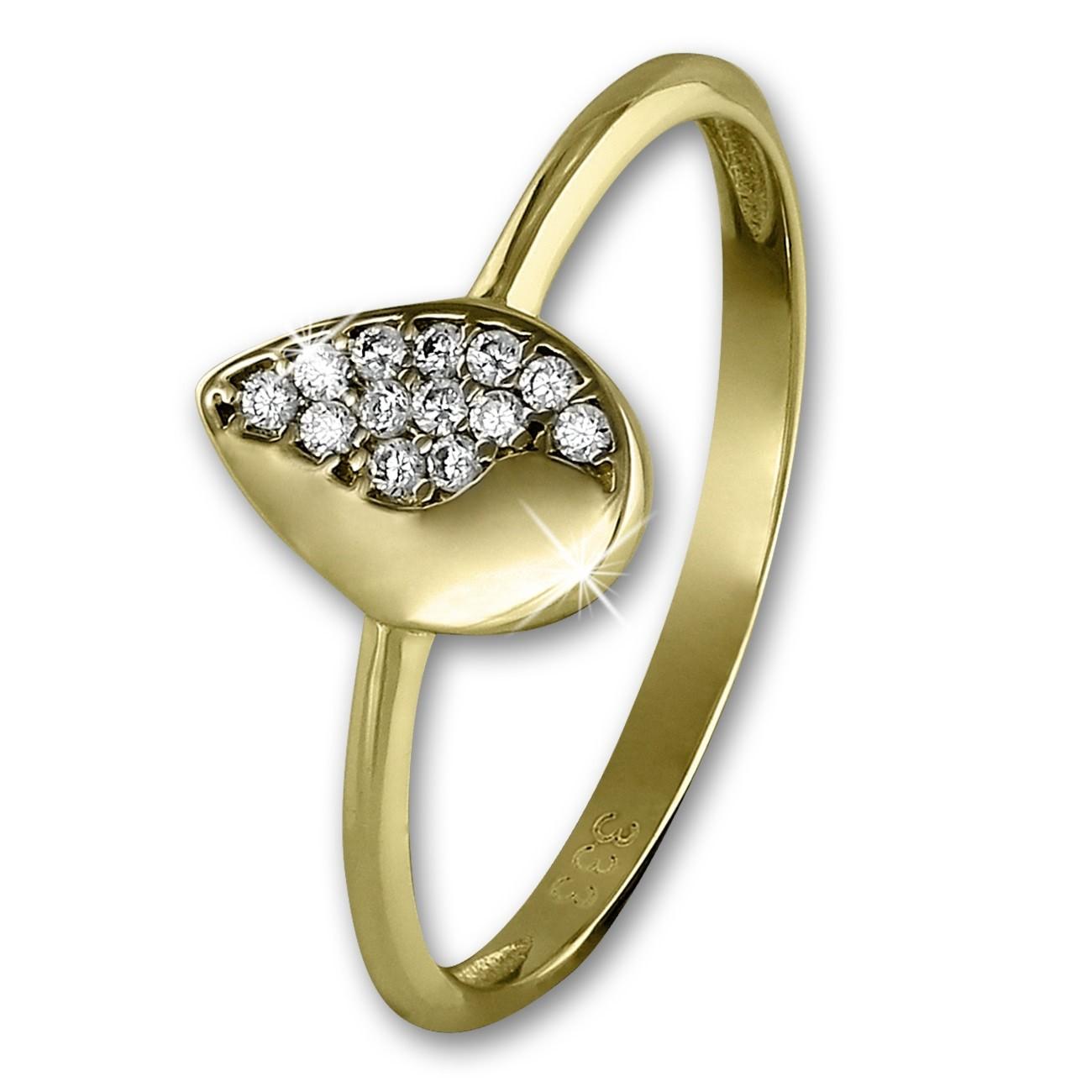 GoldDream Gold Ring Blatt Zirkonia weiß Gr.56 333er Gelbgold GDR506Y56