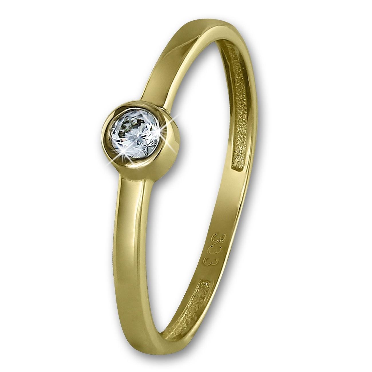 GoldDream Gold Ring Stein Zirkonia weiß Gr.56 333er Gelbgold GDR509Y56