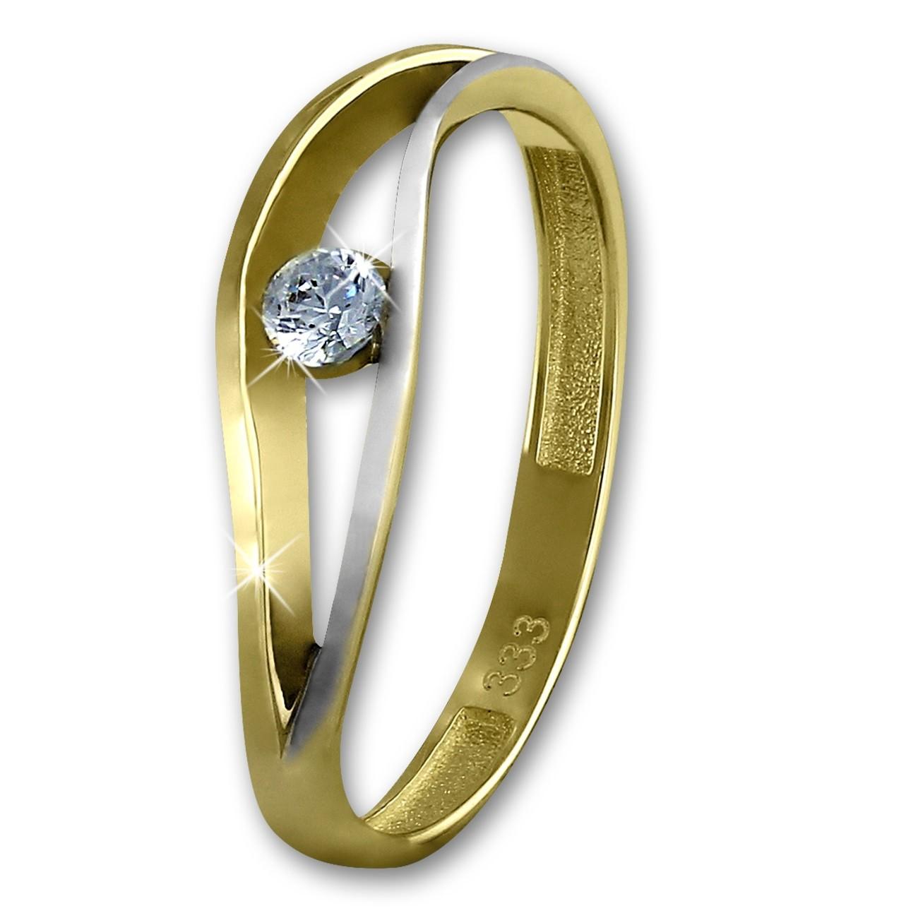 GoldDream Gold Ring Welle Zirkonia weiß Gr.56 333er Gelbgold GDR510T56