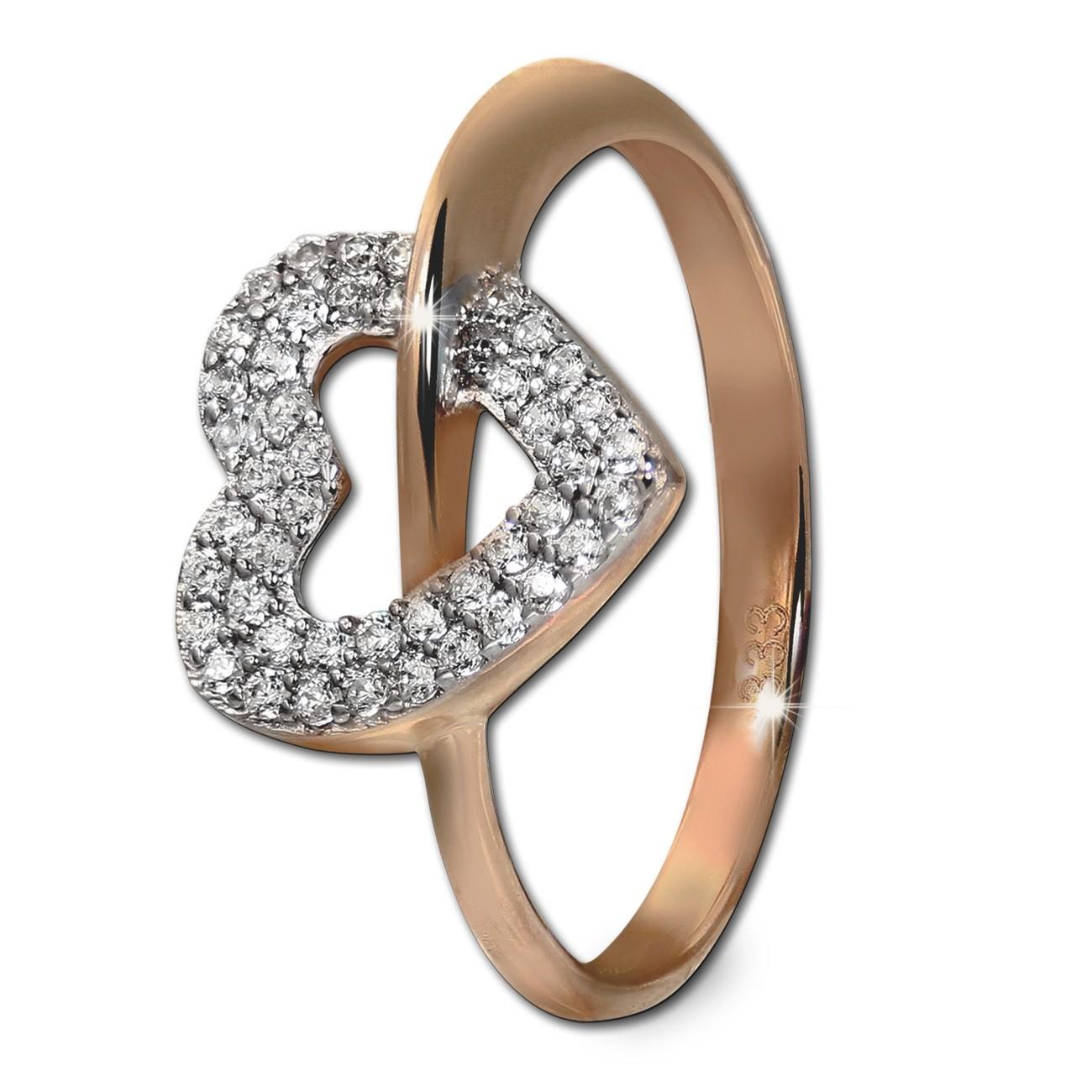 GoldDream Gold Ring Gr.60 Herz Zirkonia 333er Rosegold GDR521E60