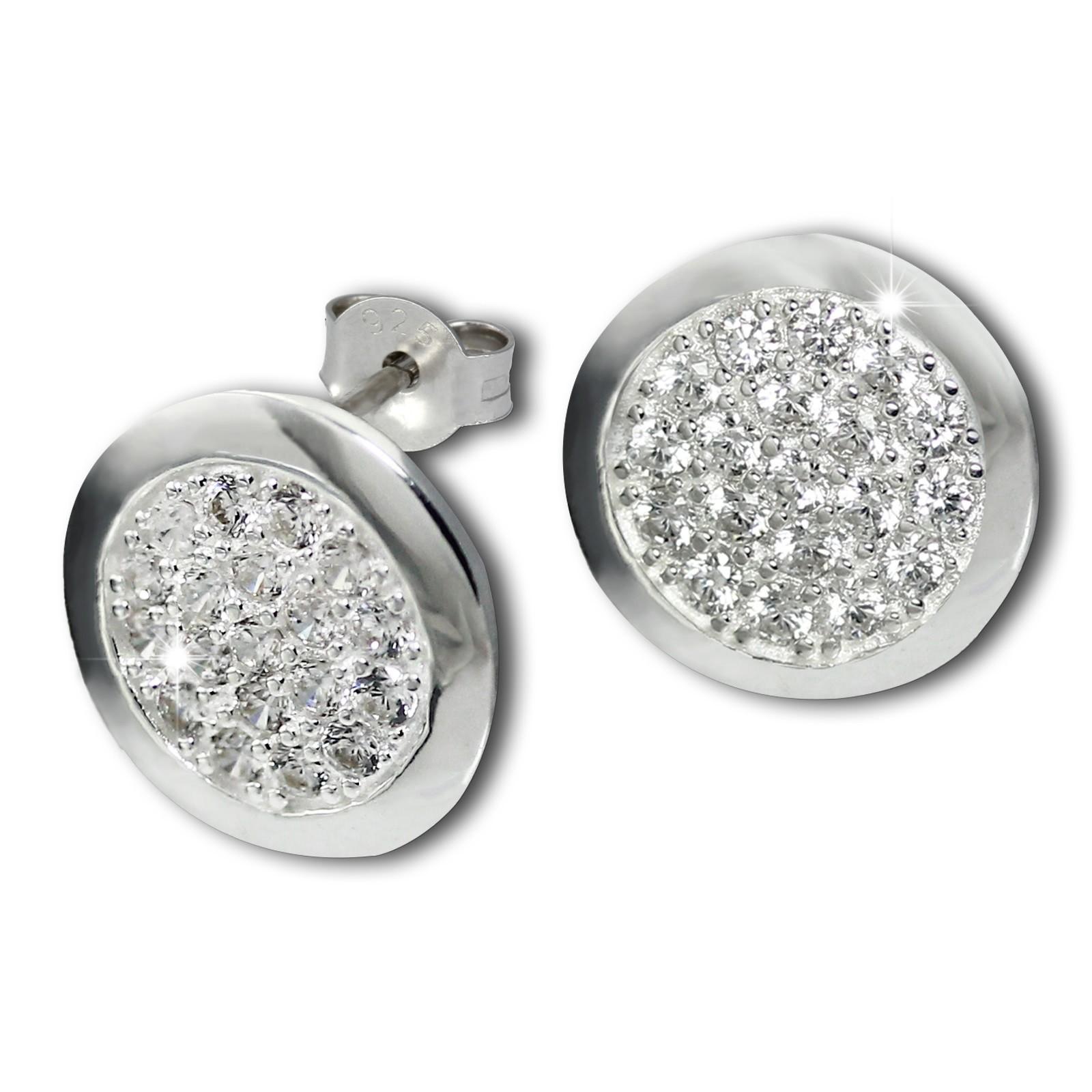 SilberDream Glitzer Ohrstecker Zirkoniascheibe weiß 925 Silber GSO219W