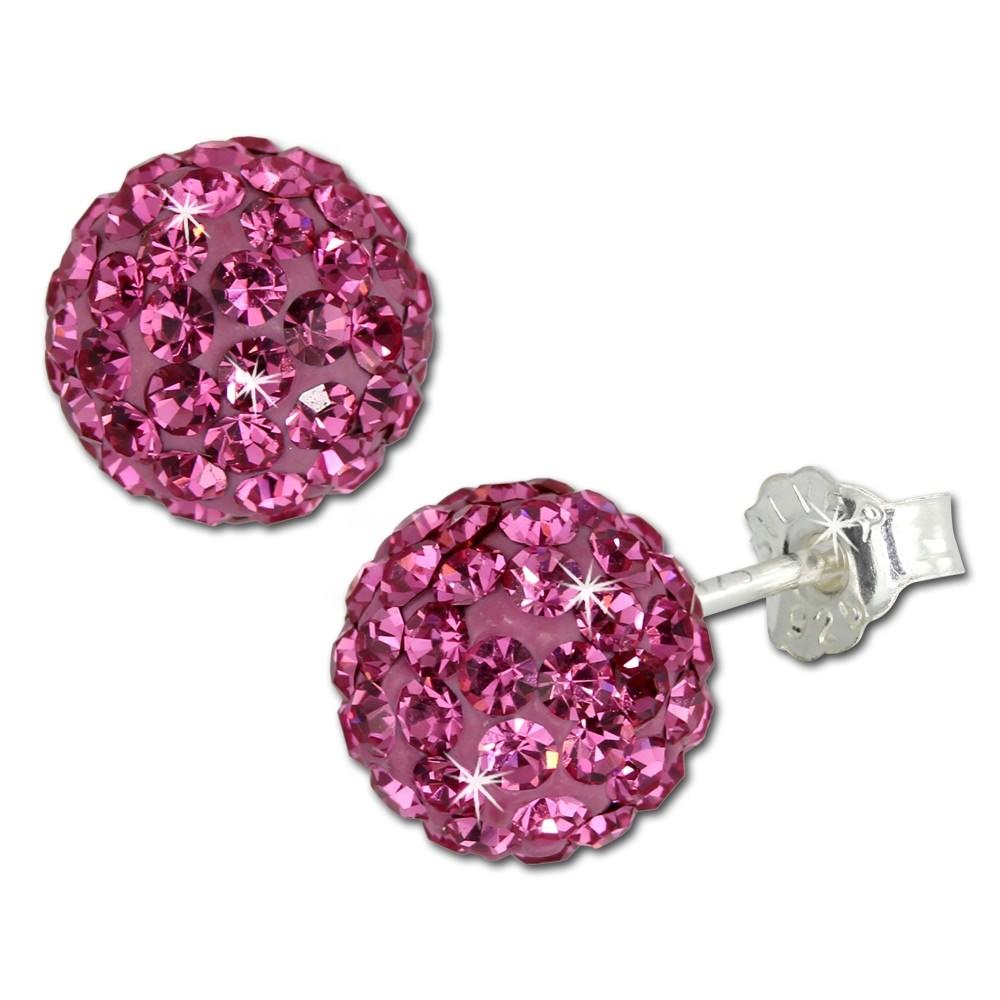 SilberDream Ohrstecker Glitzerkugel 8mm pink Silber Ohrring GSO2808P