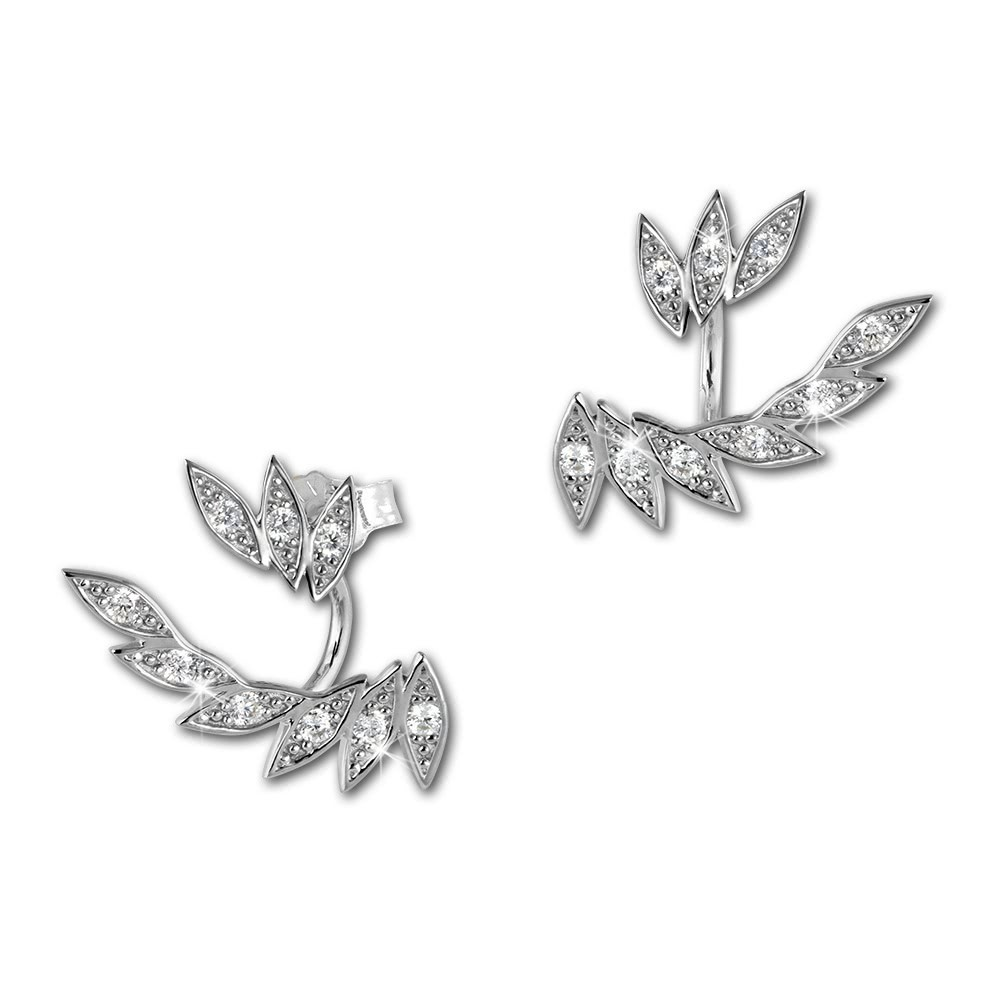 SilberDream Ohrstecker Dangle Ear Cuff Blätter weiß 925 Silber Ohrringe GSO450W