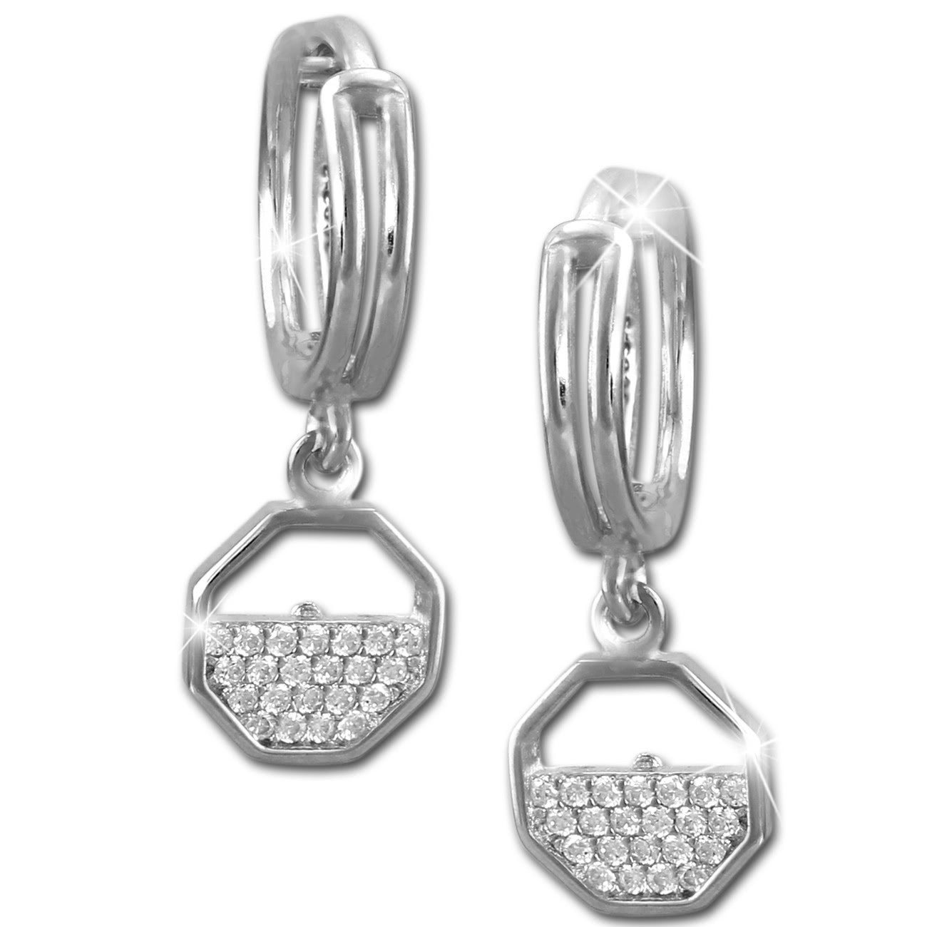 SilberDream Glitzer Creole Oktagon weiß 925er Silber Ohrring GSO481W