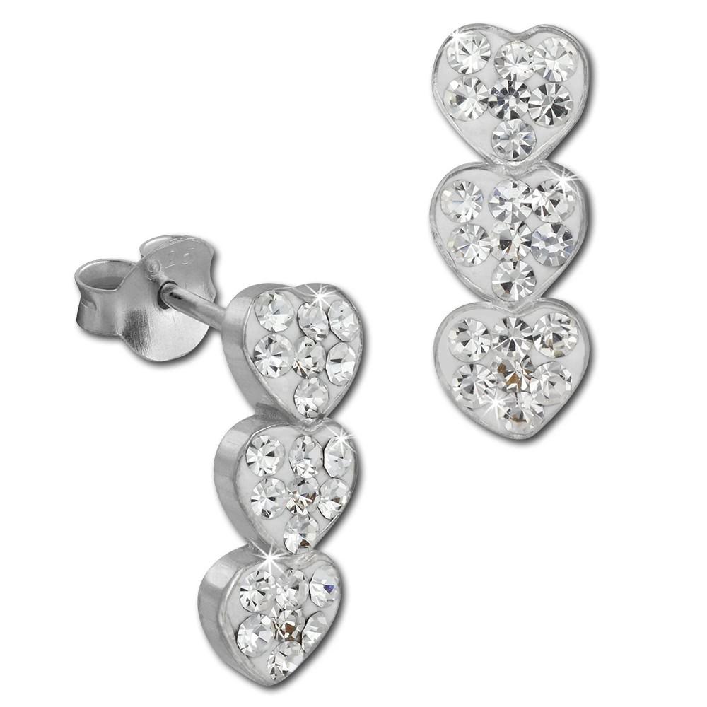 SilberDream Ohrstecker drei Herzen weiß 925er Glitzer Kristalle GSO606W