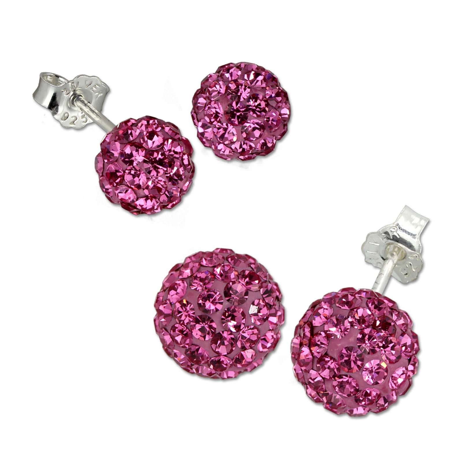 SilberDream Set Ohrstecker Glitzerkugel 6,8mm pink Ohrring 925 Silber GSS201P