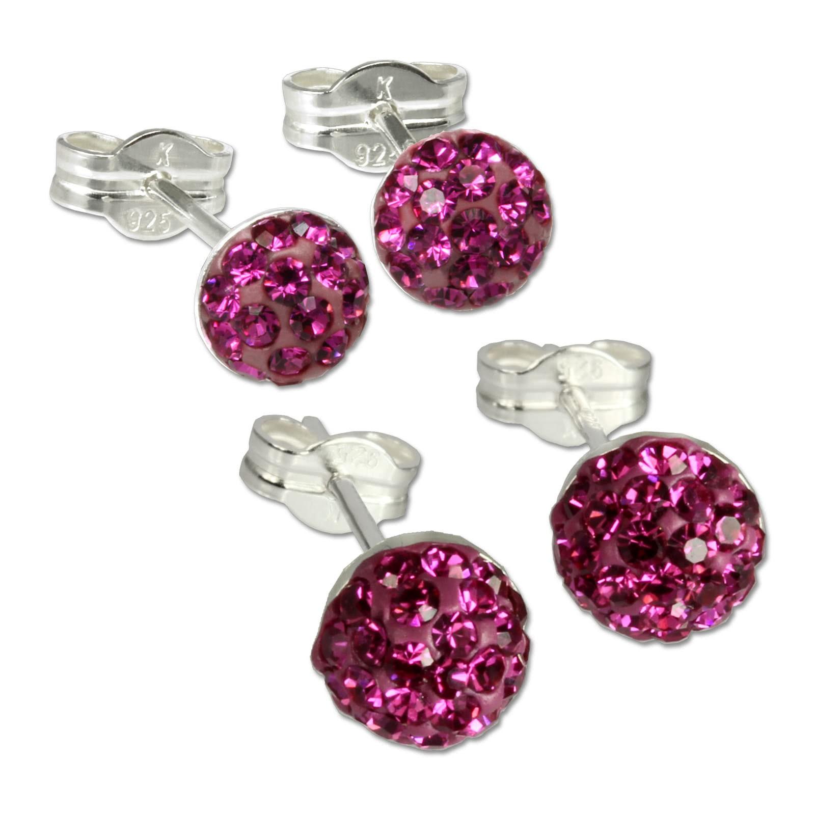 SilberDream Set Ohrstecker Halbkugel 5,7mm pink Ohrring 925 Silber GSS202P