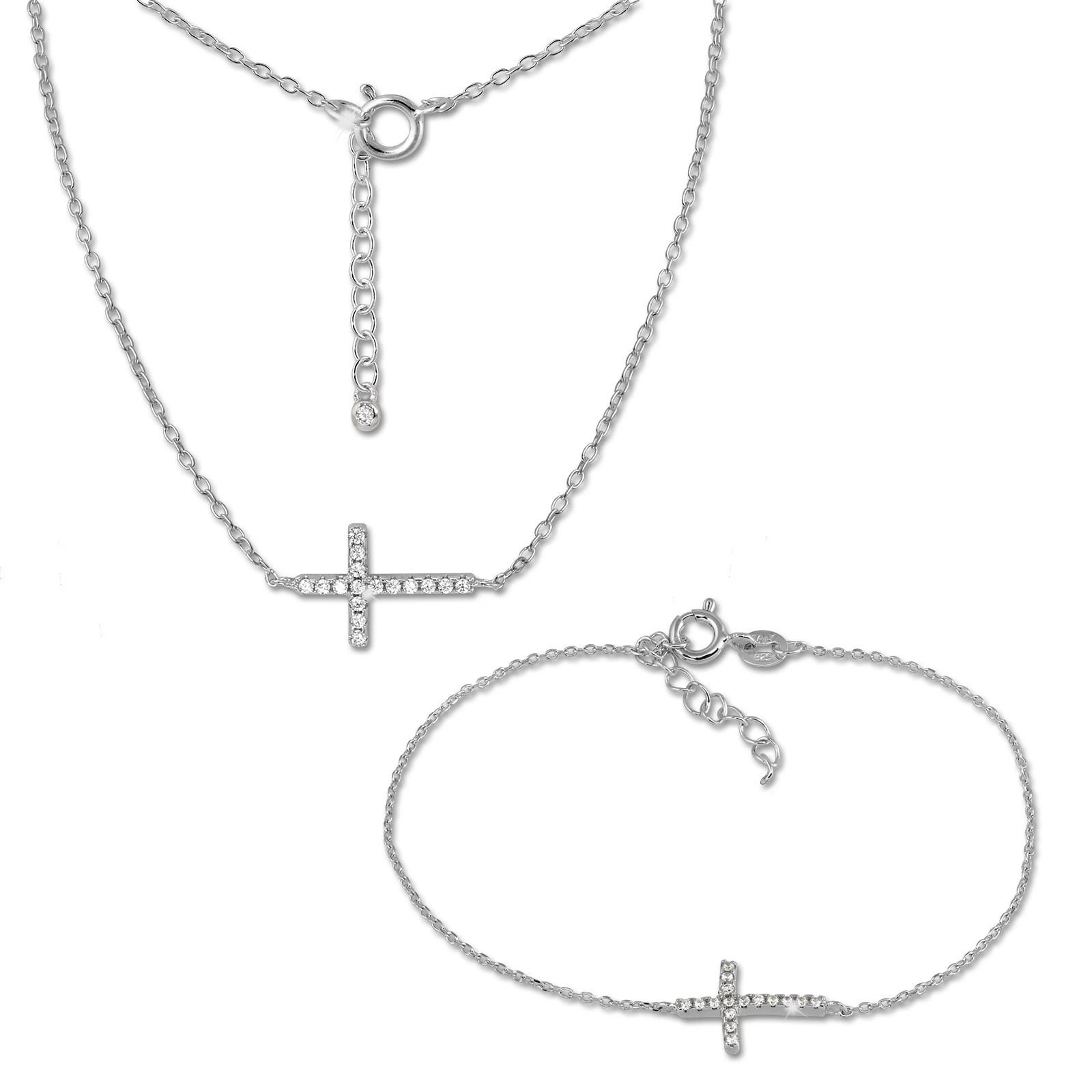 SilberDream Schmuckset Kreuz Zirkonia Halskette & Armband 925 Silber GSS412W