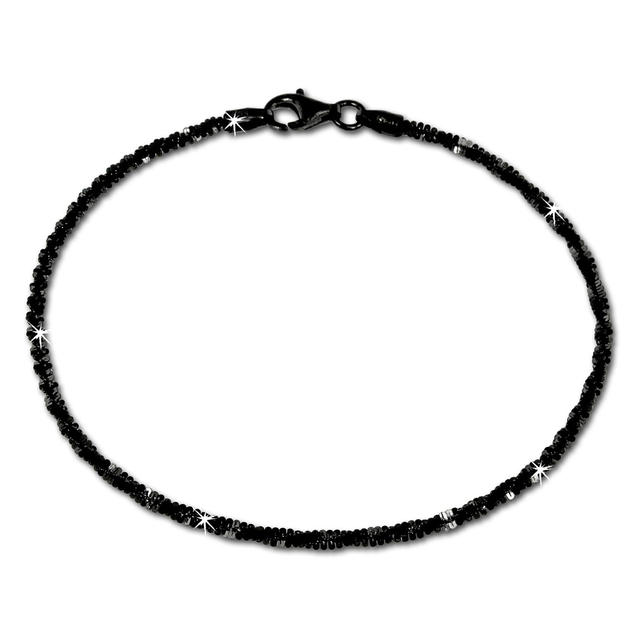 SilberDream Armband gedreht schwarz 925 Silber Damen SDA2059S