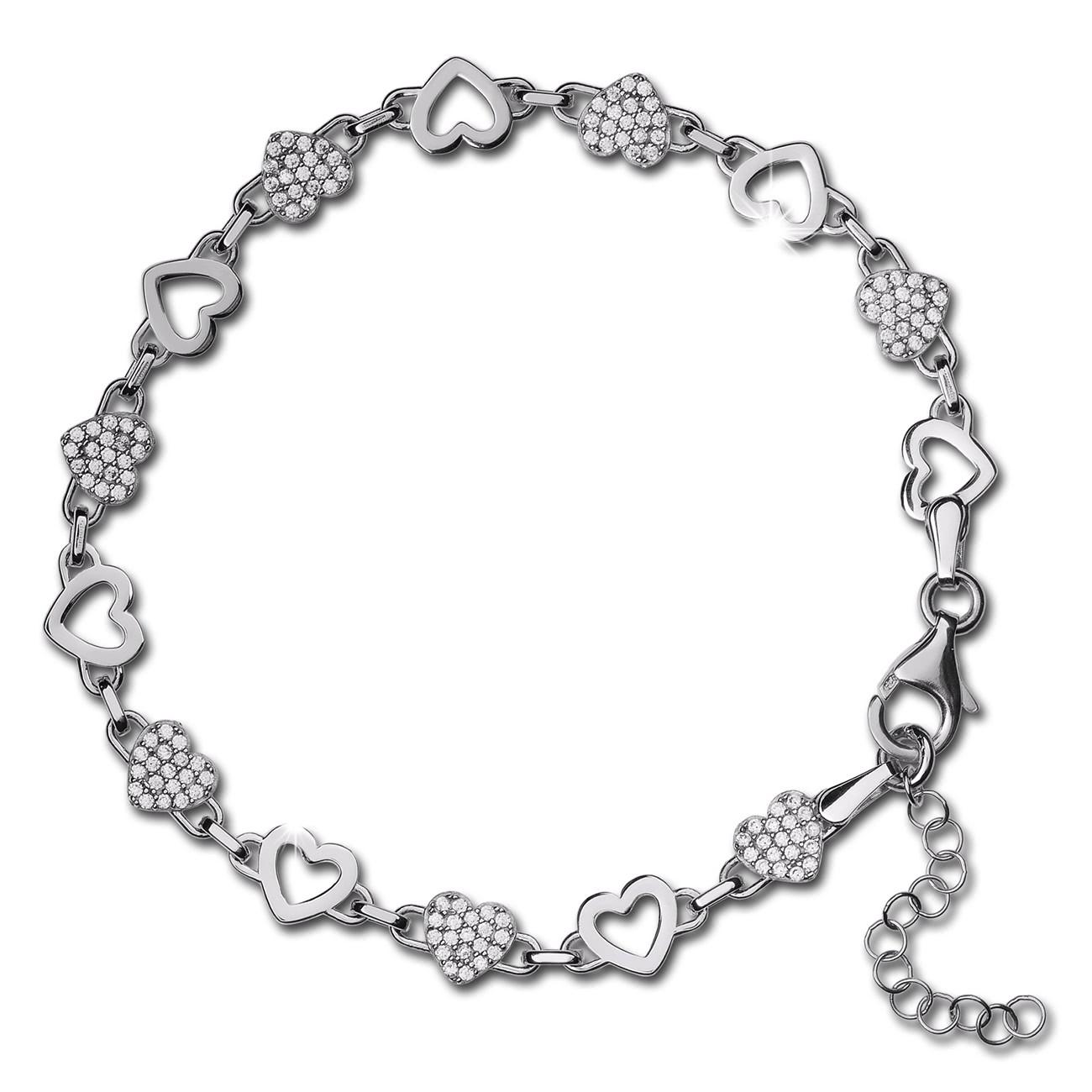 SilberDream Armband Herzen 925 Silber poliert Zirkonia ca. 21,5cm SDA4798W
