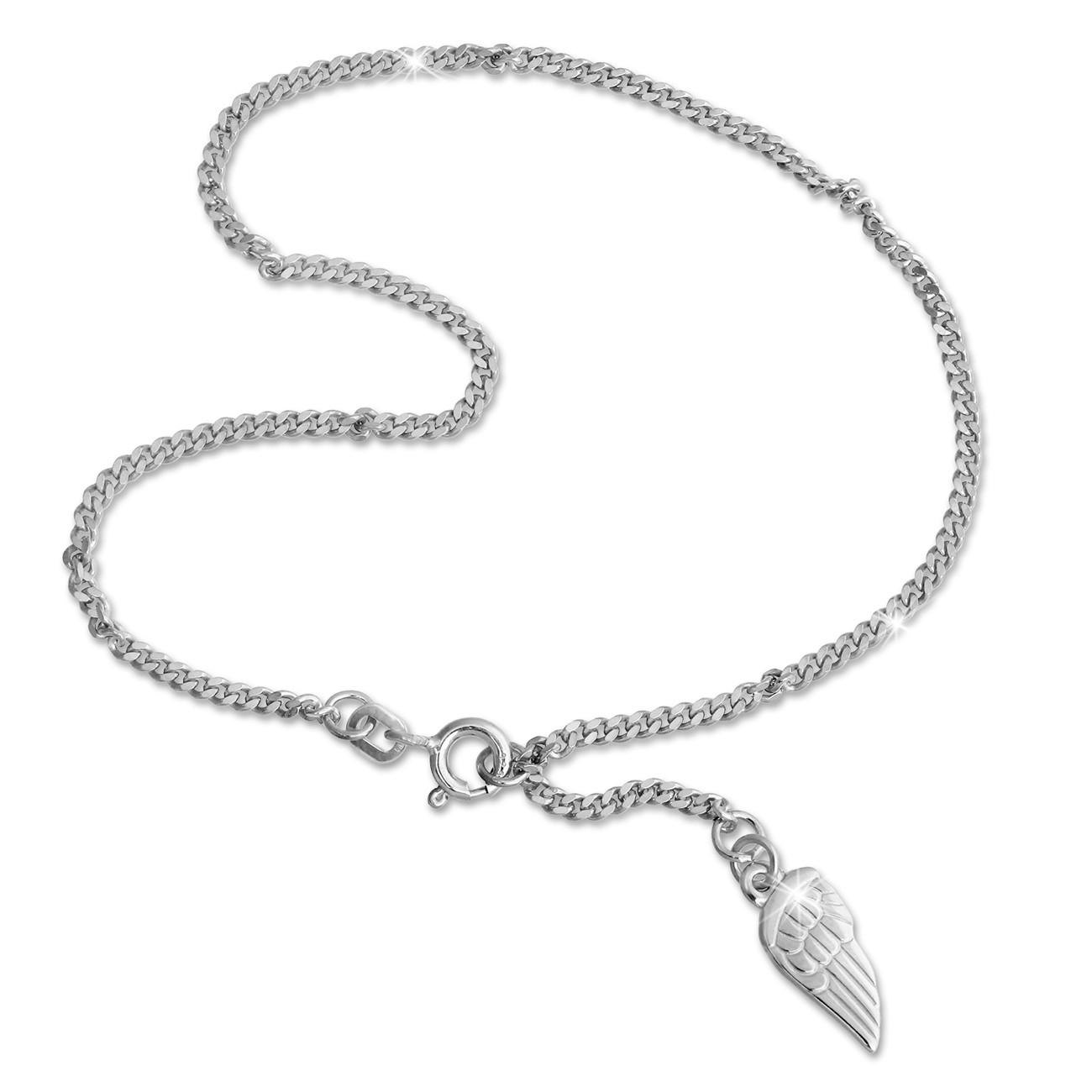 SilberDream 26cm Fußkette Flügel 925 Silber SDF003