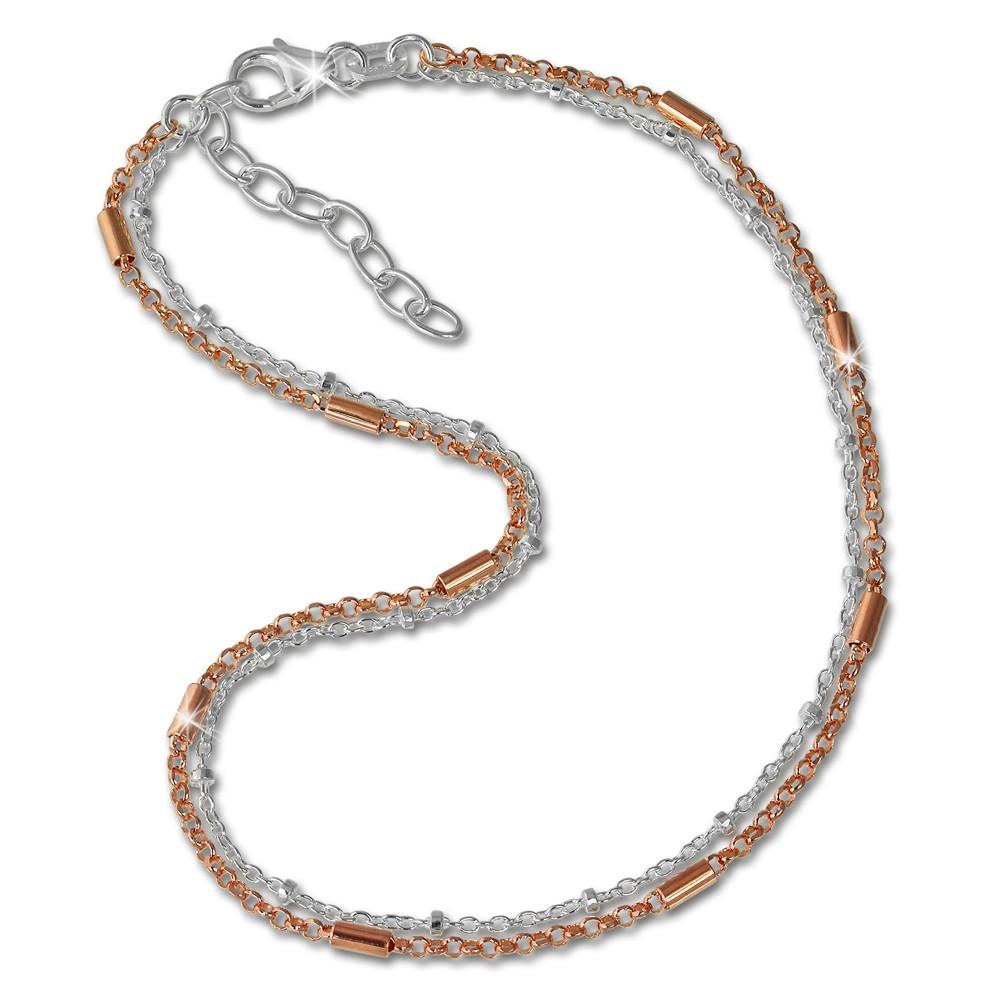 SilberDream Fußkette Stäbchen Rose vergoldet und 925er Silber SDF0253T