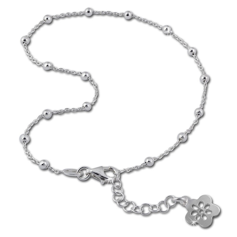 SilberDream Fußkette Blume offen 26cm 925 Sterling Silber SDF2156