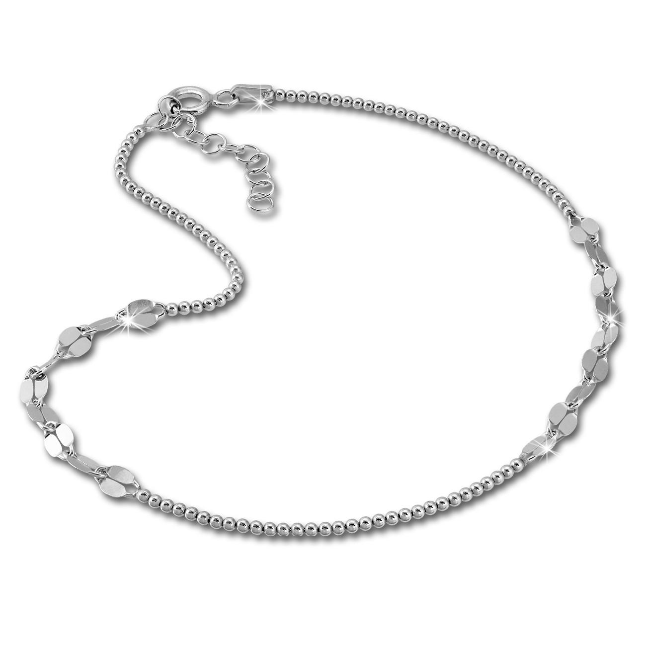 SilberDream Fußkette Plättchen 27cm 925 Sterling Silber SDF2184J
