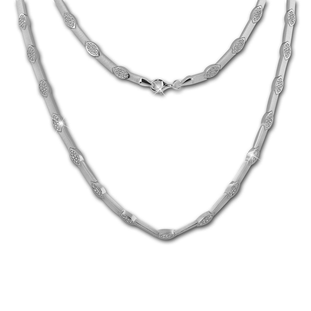 SilberDream Collier Eye Zirkonia weiß 925er Silber 45cm Halskette SDK462W