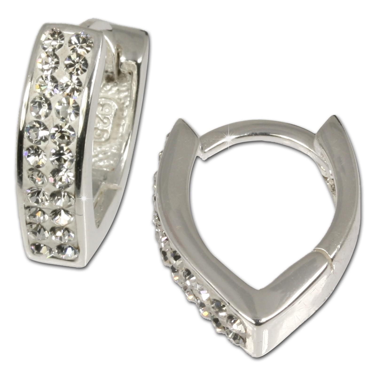 SilberDream Creole Herz Zirkonia weiß 925 Silber Ohrring SDO310W
