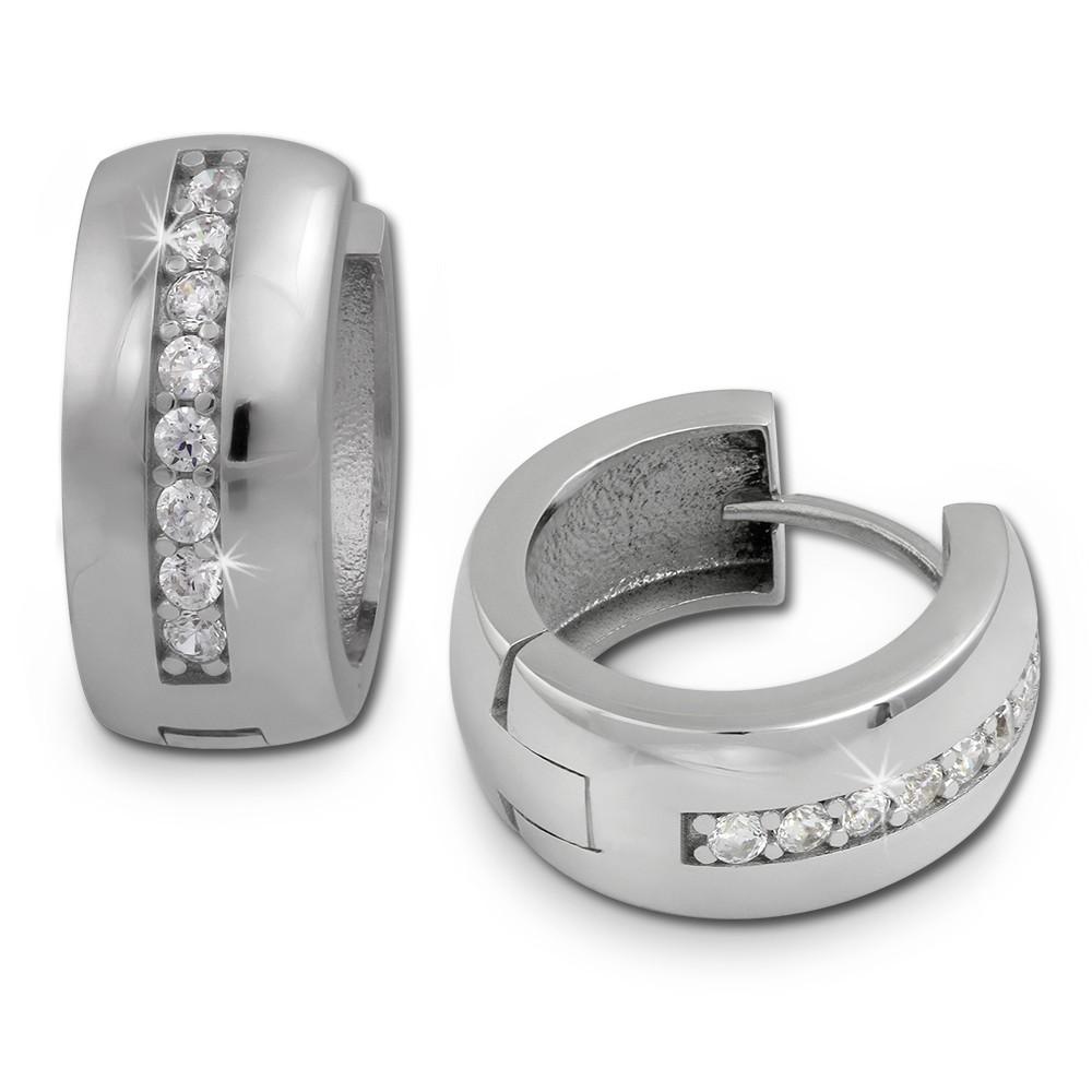 SilberDream Creole Glanz Zirkonia weiß 925 Sterling Silber Ohrring SDO349S