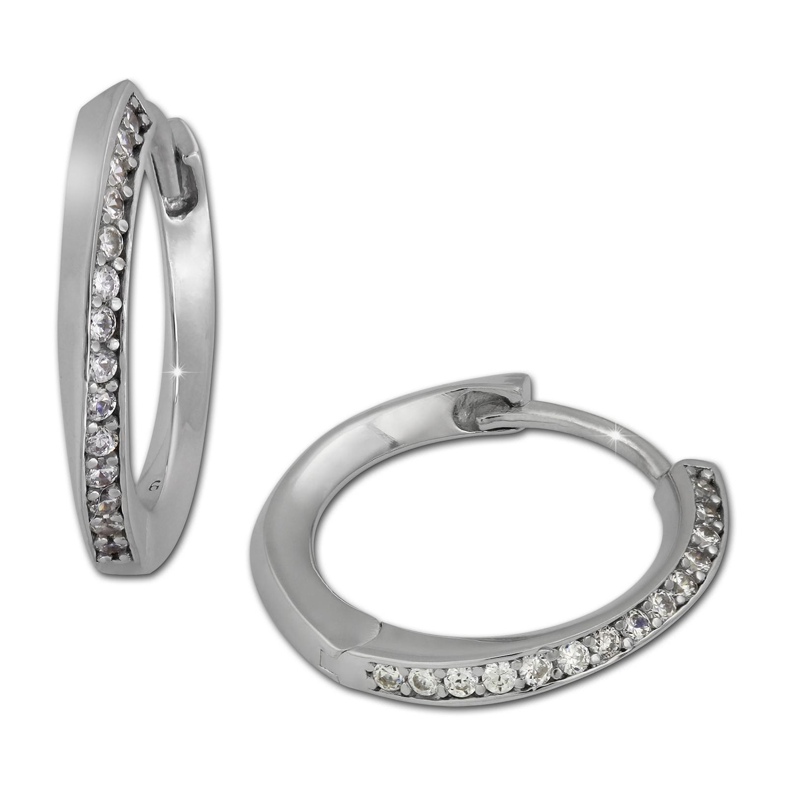 SilberDream Creole Zirkonia weiß 925 Sterling Silber Ohrring SDO350W