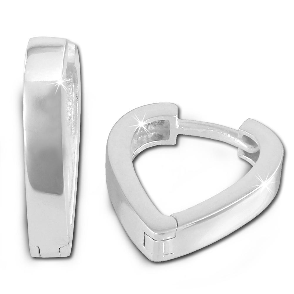 SilberDream Creole Herz glanz 925 Sterling Silber Damen Ohrring SDO374S