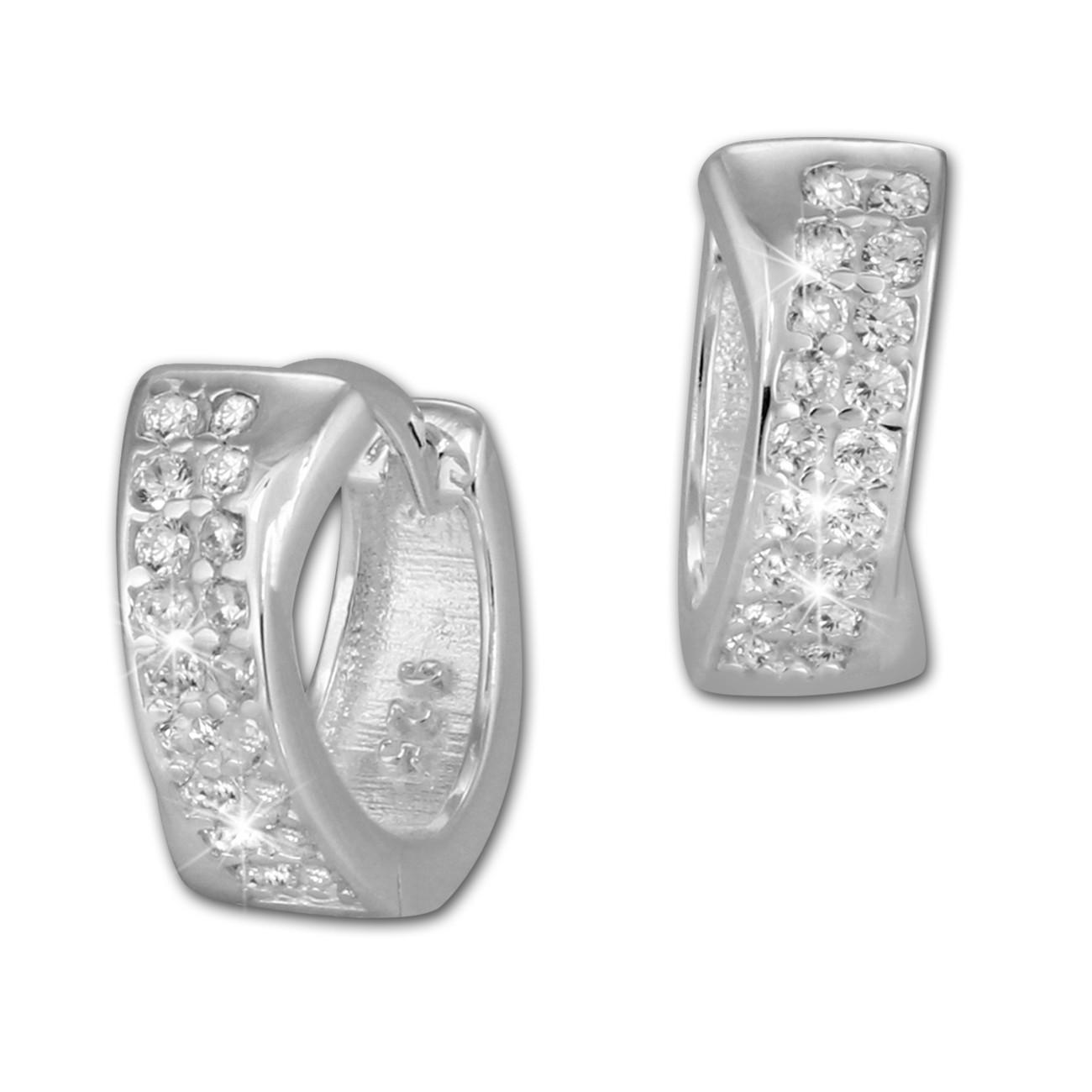 SilberDream Creole 2-reihig Zirkonia weiß 925er Silber Damen SDO394W