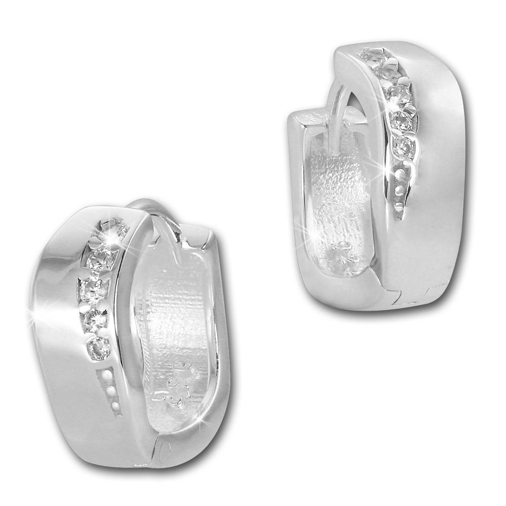 SilberDream Creole Welle Zirkonia weiß 925 Sterling Silber Damen SDO4269W