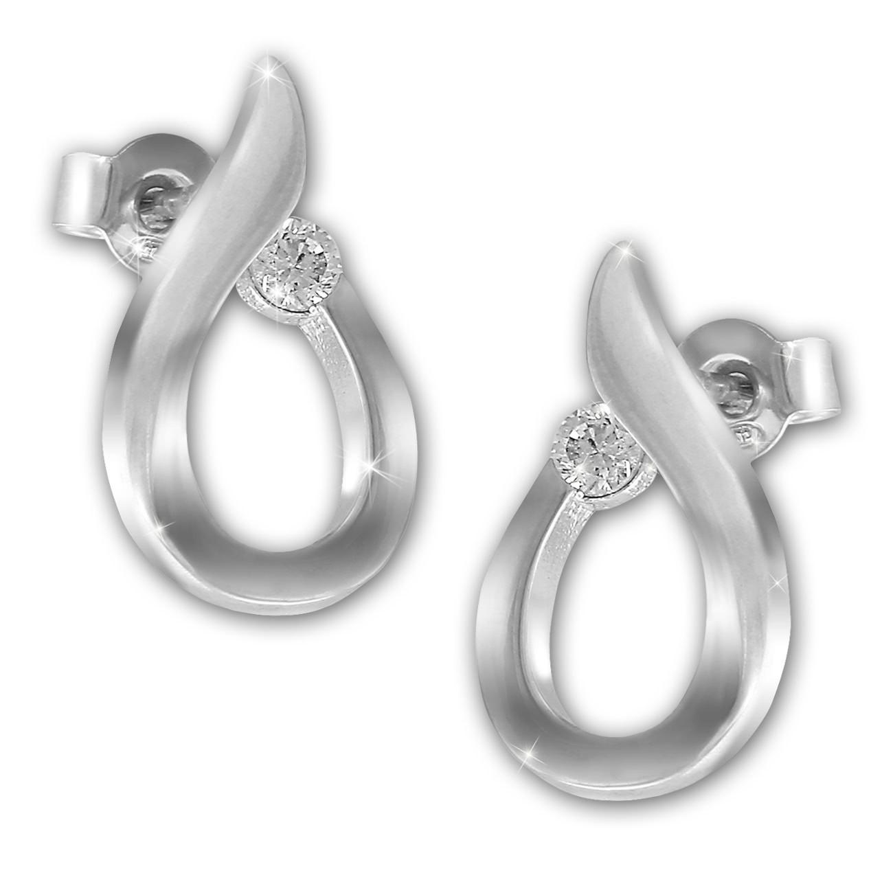 SilberDream Ohrstecker Tropfen Zirkonia weiß 925 Silber Damen Ohrring SDO4305W