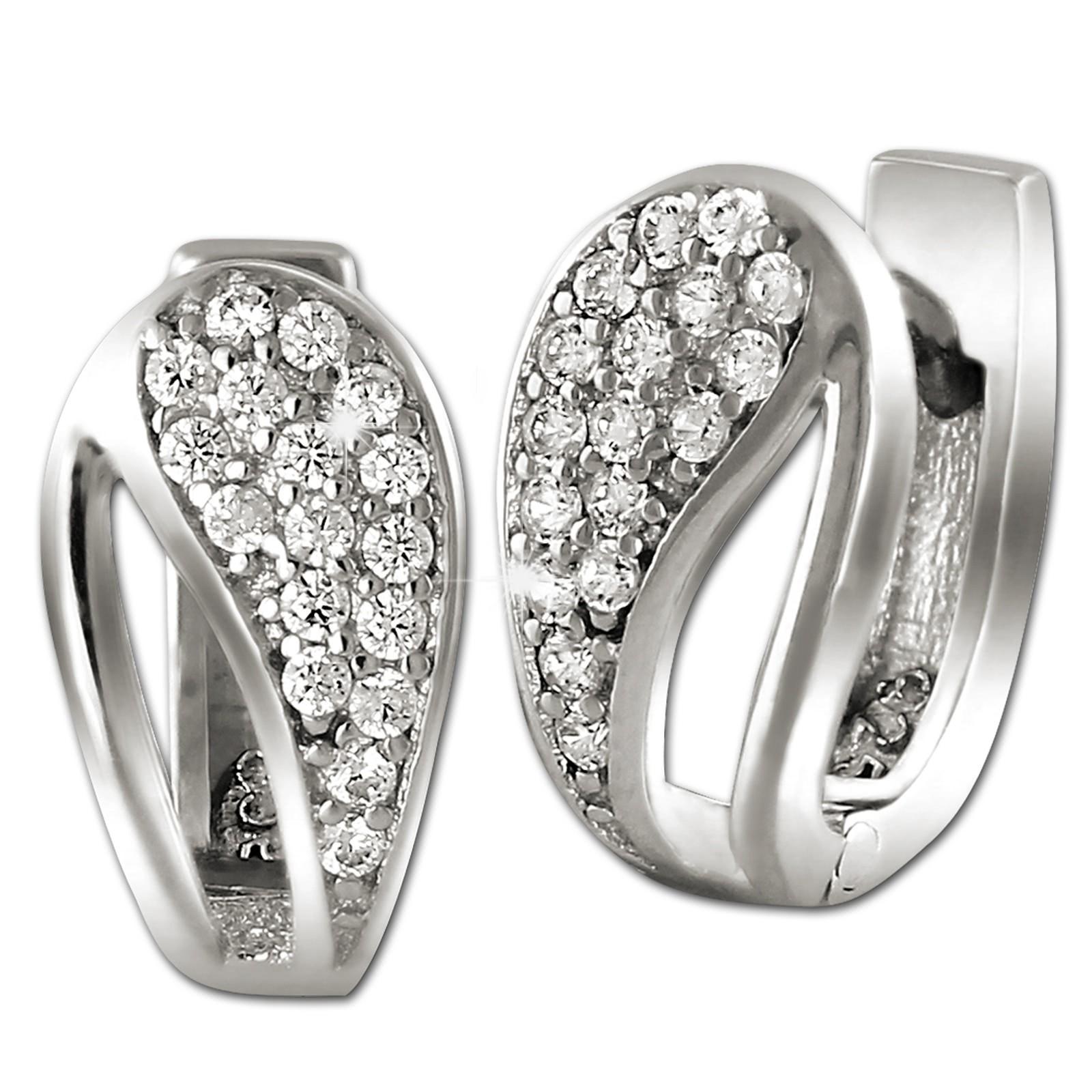 SilberDream Creole Blattform Zirkonia weiß 925 Sterling Silber Damen SDO4326W