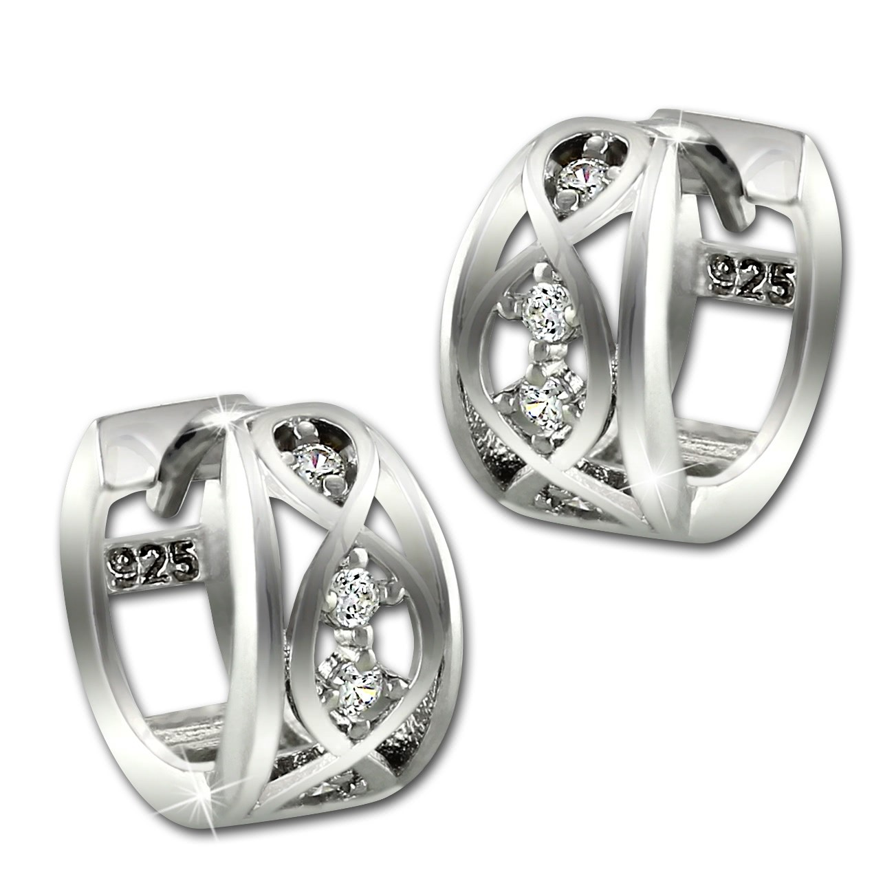SilberDream Creole Ranke Zirkonia weiß 925 Sterling Silber Damen SDO4329W