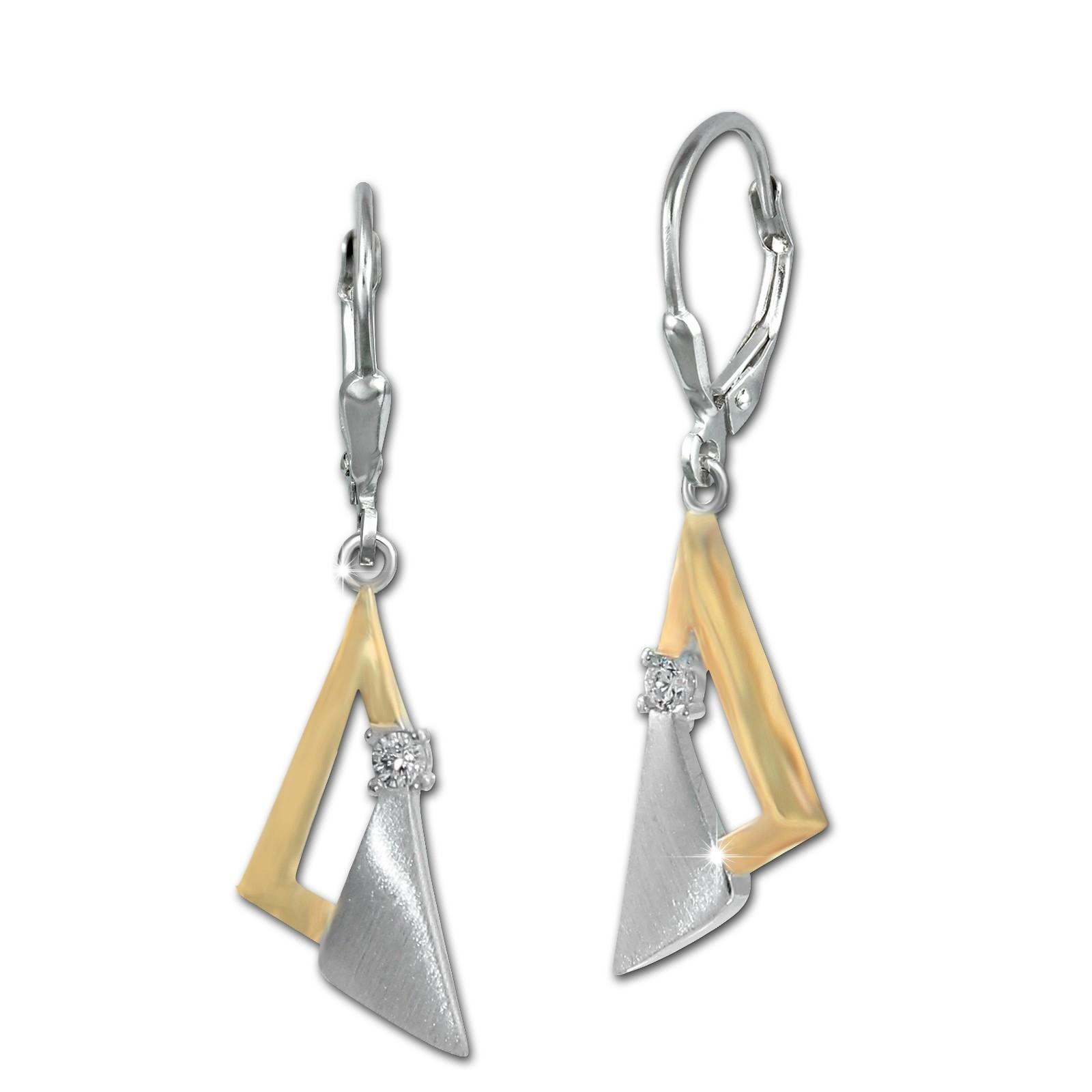 SilberDream Ohrhänger Triangles Zirkonia weiß 925 Sterling Silber Damen SDO4339T