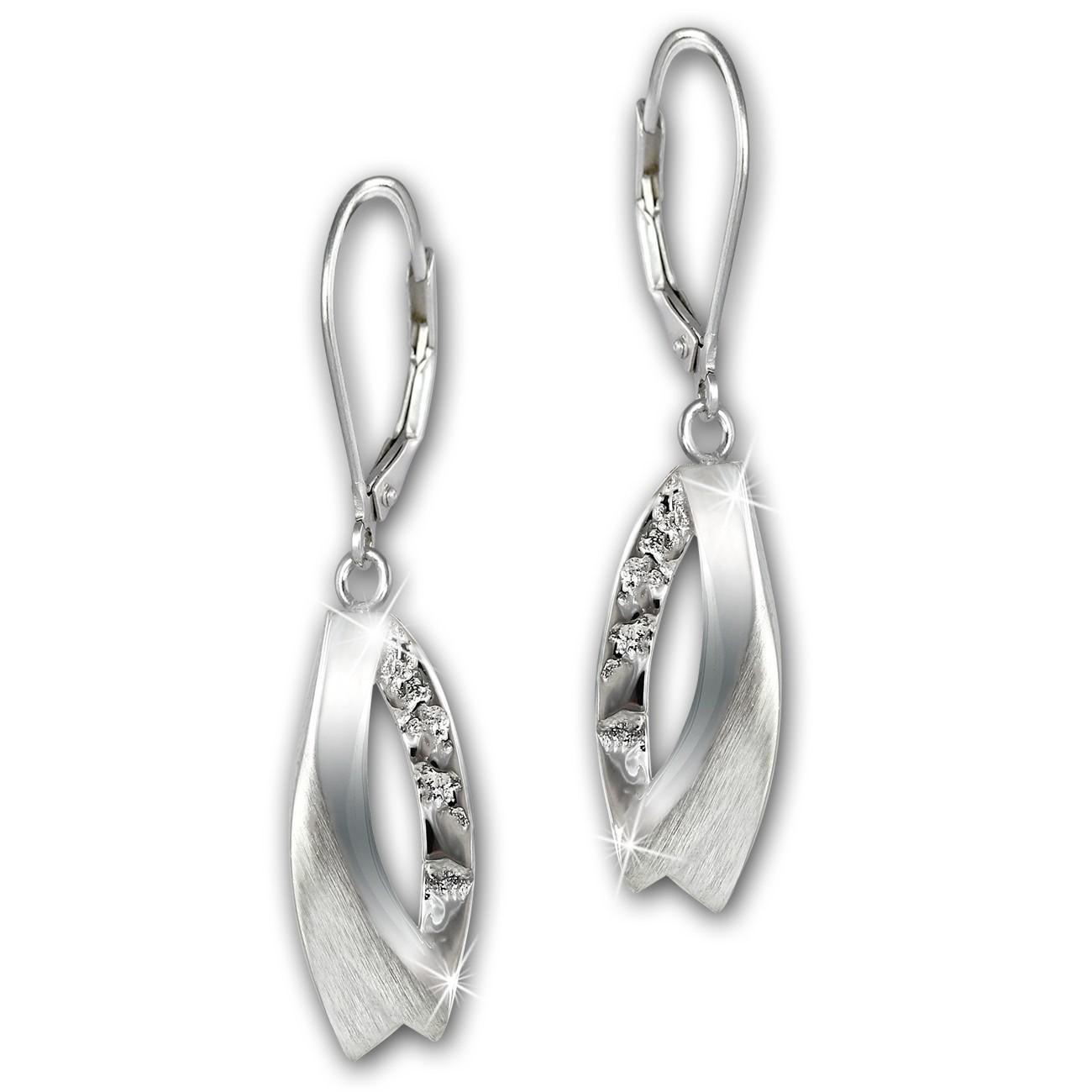 SilberDream Ohrhänger Doppel-Blatt 925 Sterling Silber Damen Ohrring SDO4352J