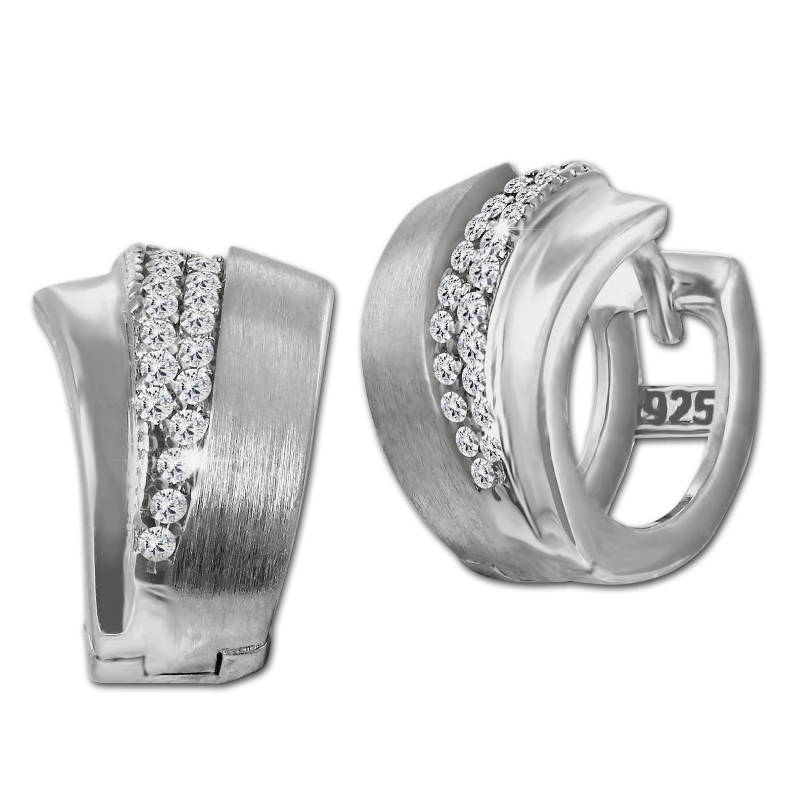 SilberDream Creole Fächer Zirkonia weiß 925 Sterling Silber Damen SDO4368W