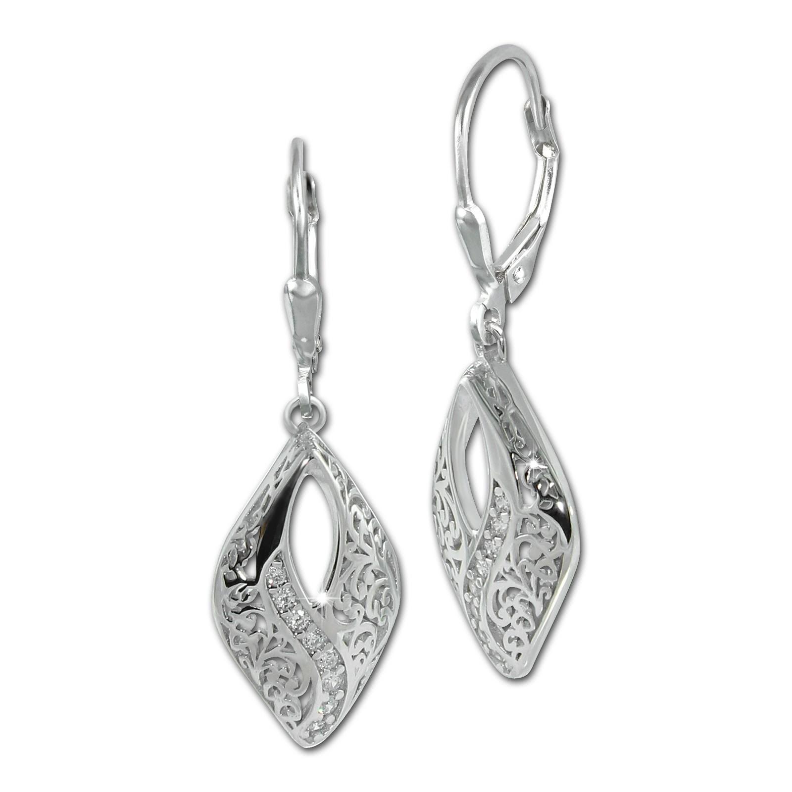 SilberDream Ohrhänger Orient Zirkonia weiß 925 Sterling Silber Damen SDO4384W
