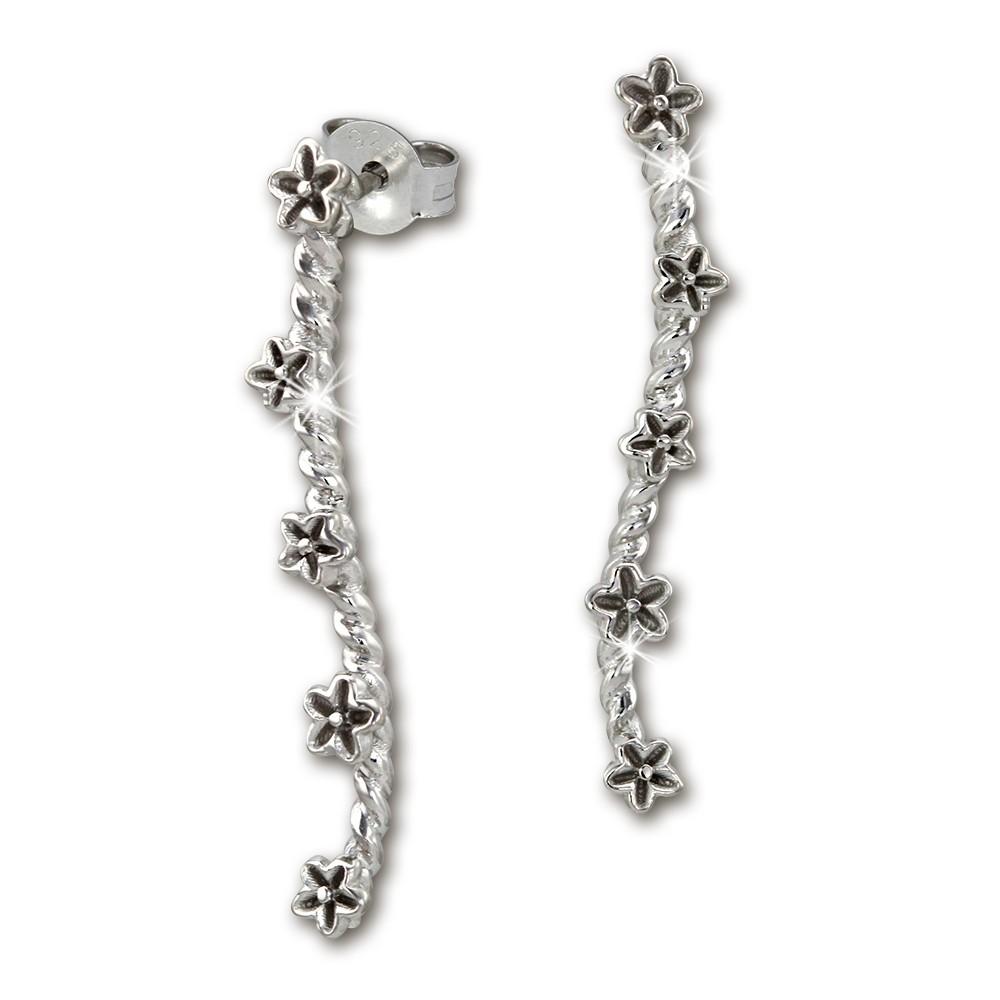 SilberDream Ohrstecker Blumenranke 925 Silber Damenohrringe SDO453J