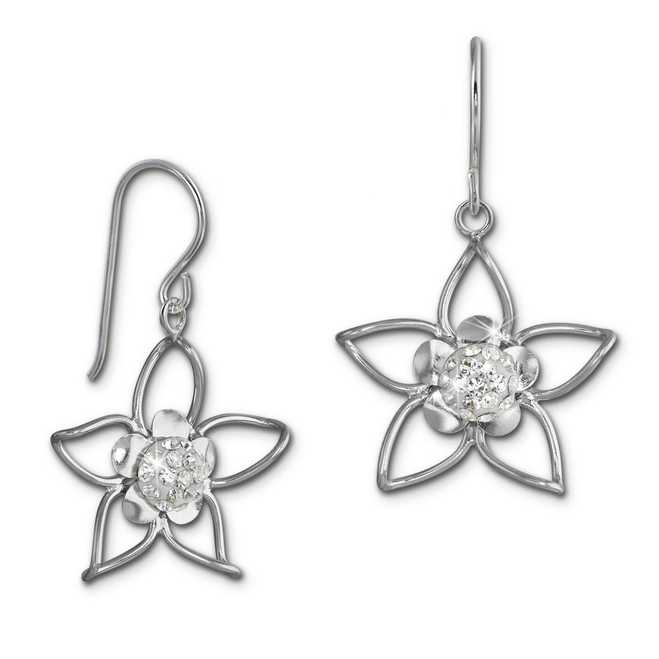 SilberDream Ohrhänger Blume Zirkonia weiß 925er Silber Damen SDO461W