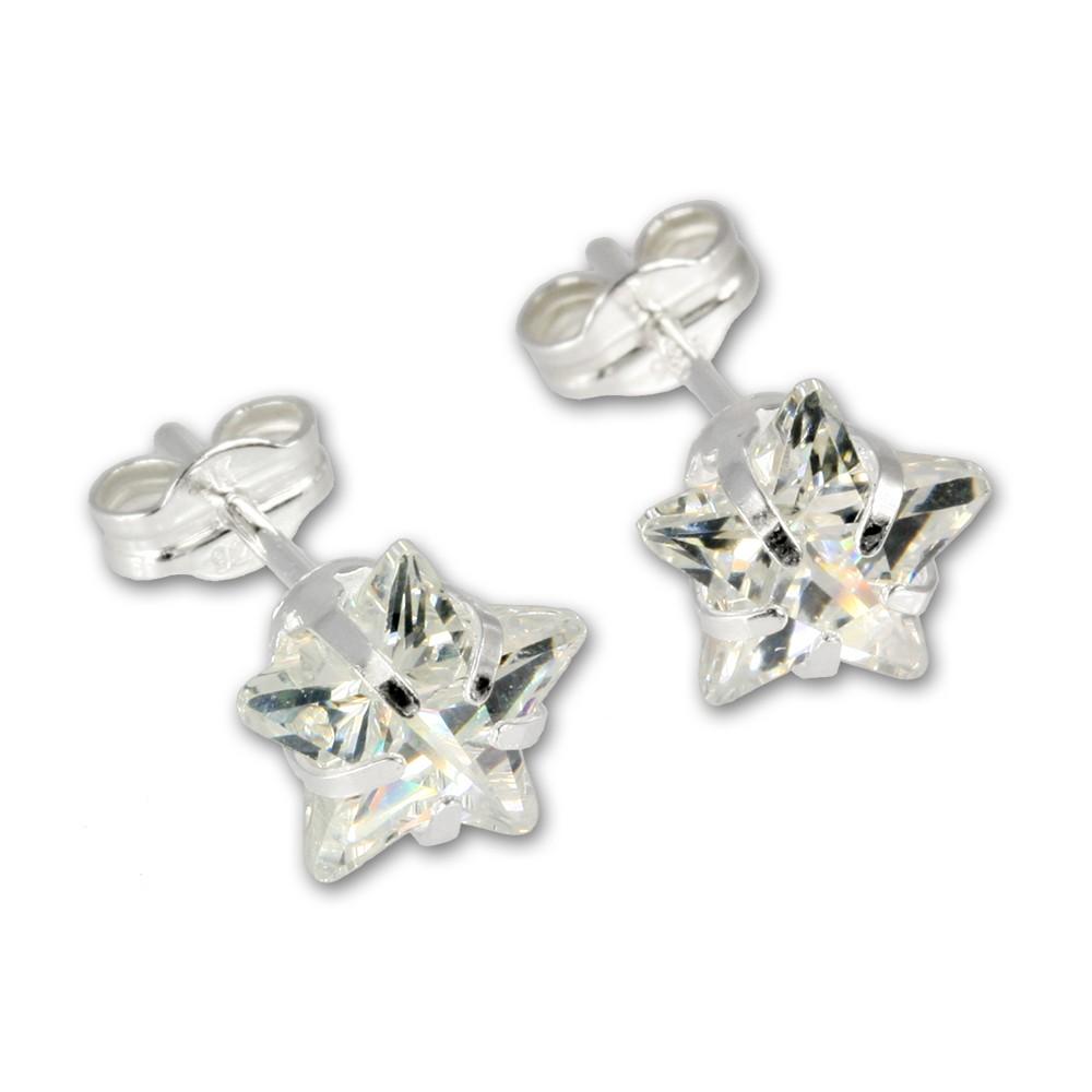 SilberDream Ohrringe Stern Zirkonia weiß 925 Silber SDO513W