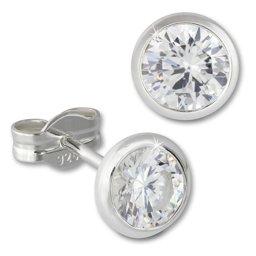 SilberDream Ohrringe Zirkonia weiß 6mm 925 Silber Ohrstecker SDO5536W